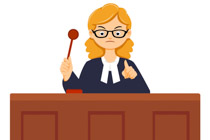 Judge in court room
